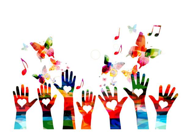 illustrazioni stock, clip art, cartoni animati e icone di tendenza di music colorful background with music notes and hands - arte, cultura e spettacolo