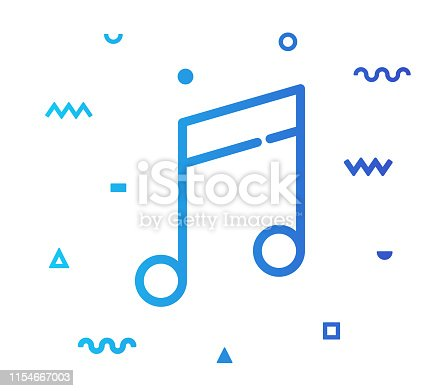 Music composing outline style icon design with decorations and gradient color. Line vector icon illustration for modern infographics, mobile designs and web banners.