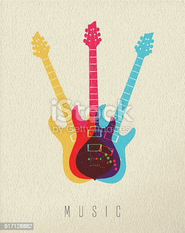istock Music concept icon electric guitar color design 517128882