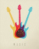 Music icon concept, electric guitar instrument in color style over texture background. EPS10 vector.