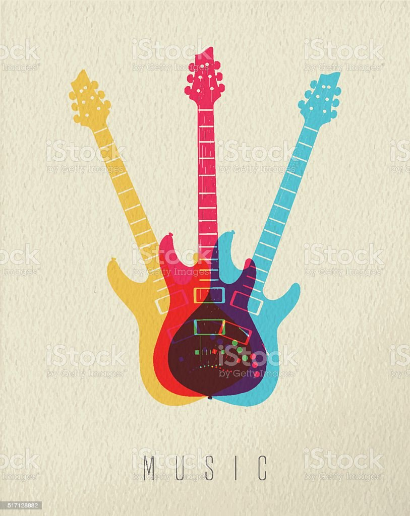 Music concept icon electric guitar color design vector art illustration