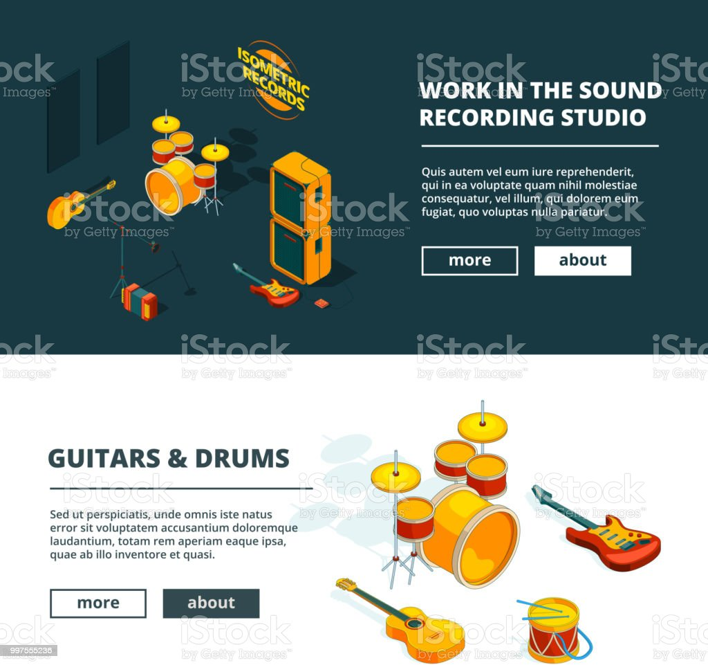 Music concepts. Vector banners template with illustrations of musical instruments