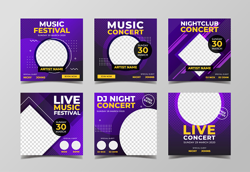Music concert, dj party and live music event banner for flyer and social media post template