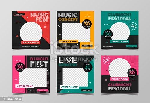 istock Music concert festival banner template 1213629409