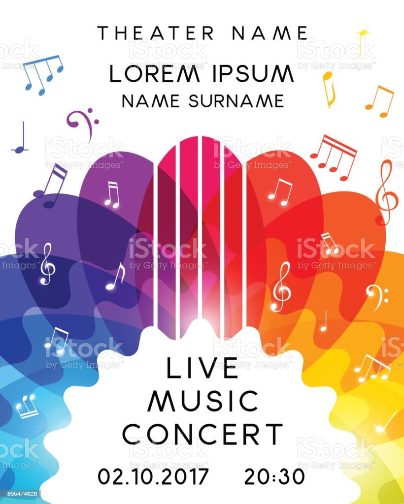 Music concert poster design. Vector template for flyer, banner, vector art illustration