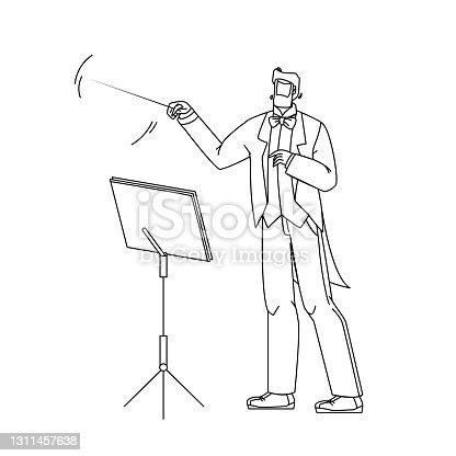 istock Music Conductor Man Conducting Orchestra Vector Illustration 1311457638