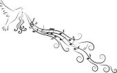 Music design element with a flying dove, flowing swirly lines and musical notes.