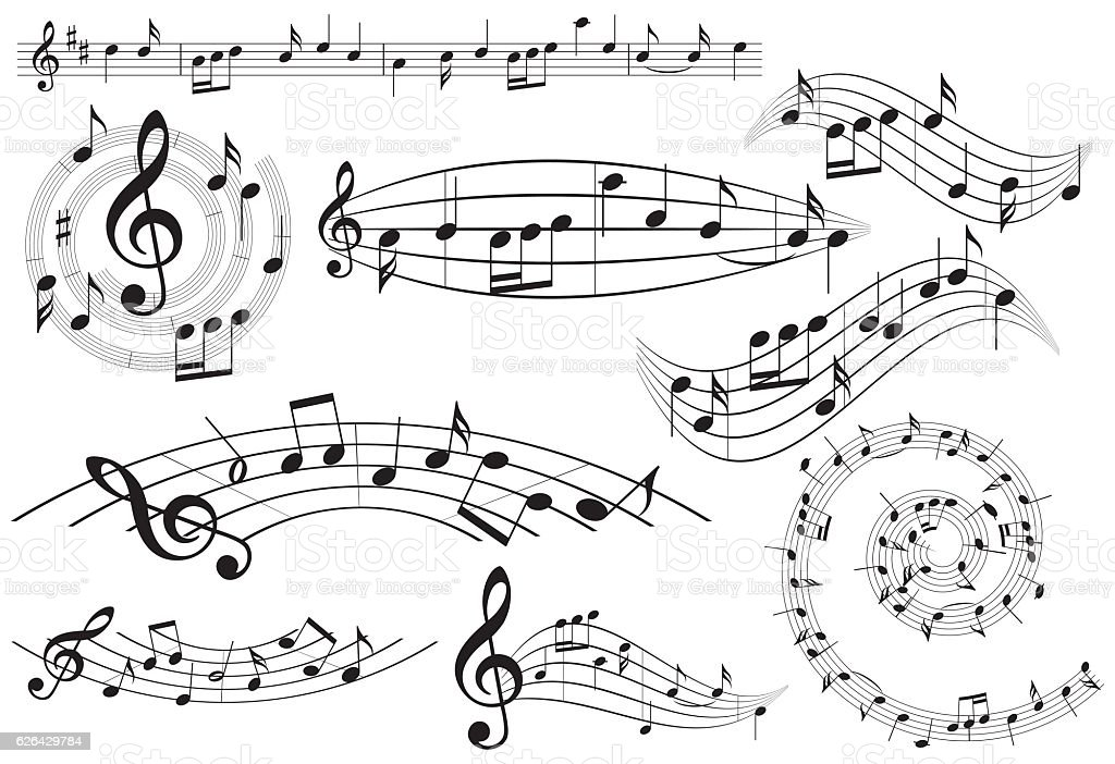 music design elements with notes - vector set vector art illustration