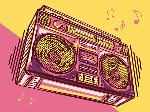 Music design - funky colorful drawn boom box