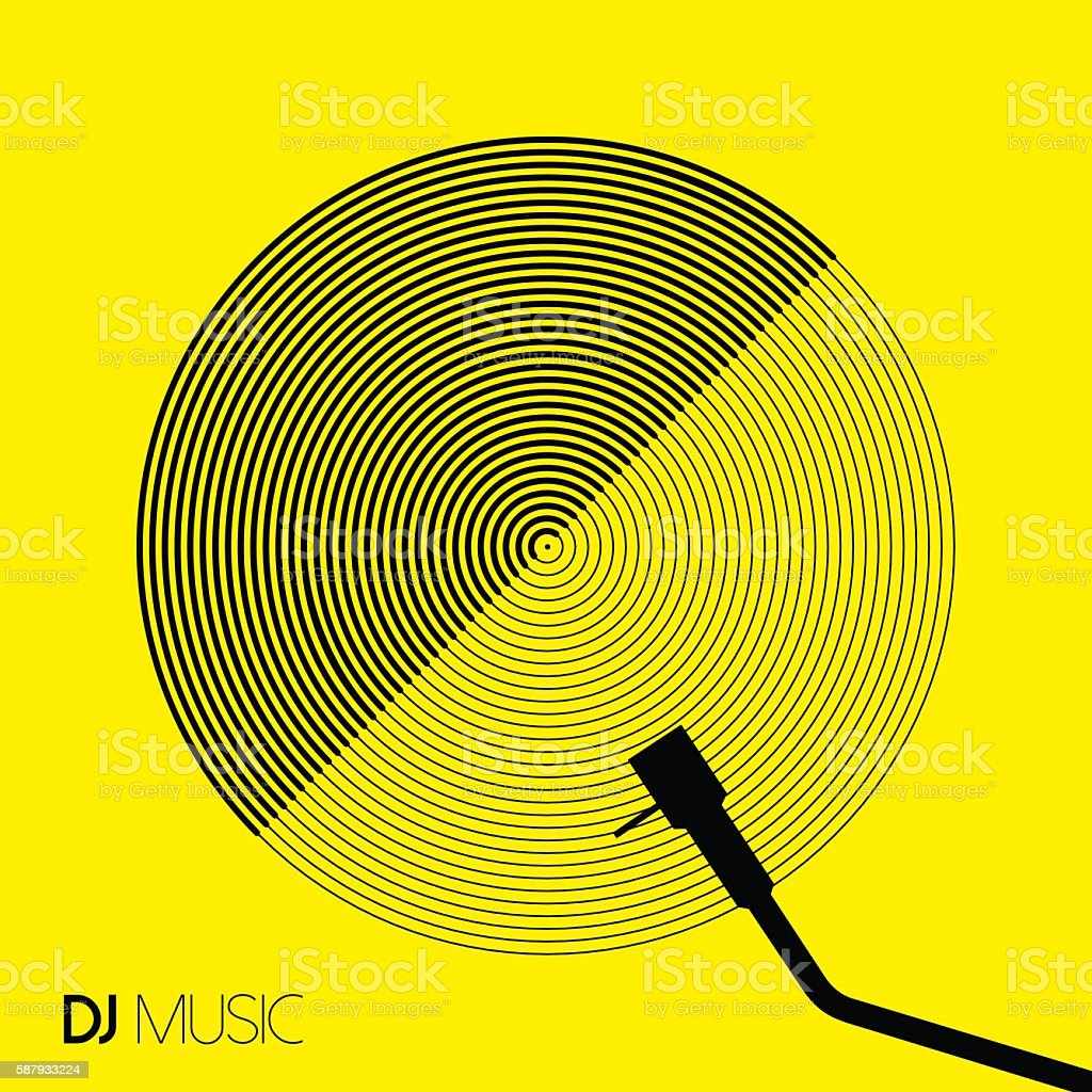 DJ music design geometry circle vinyl in line art vector art illustration