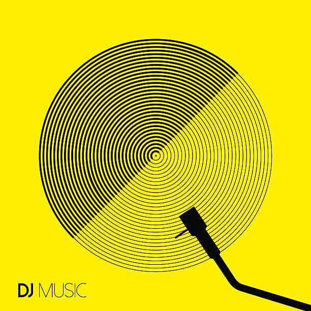 stockillustraties, clipart, cartoons en iconen met dj music design geometry circle vinyl in line art - dj