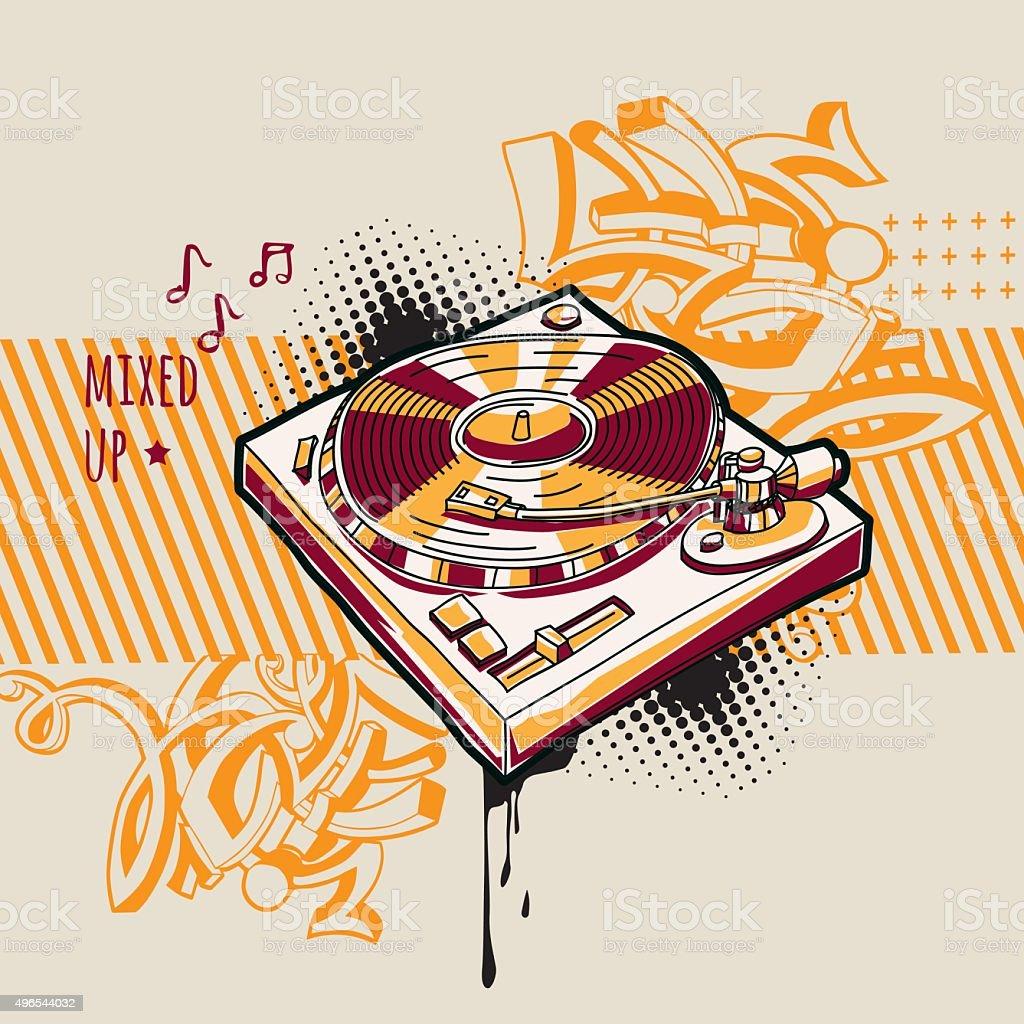 Music design - turntable vector art illustration