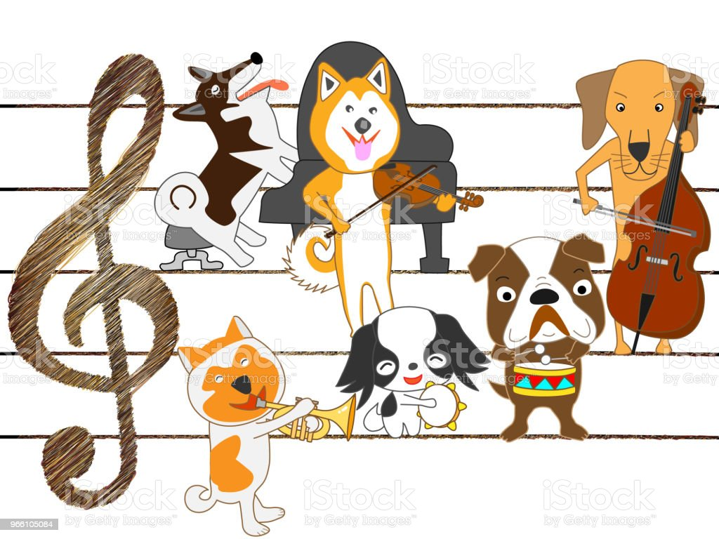 musik hund - Royaltyfri Avkoppling vektorgrafik