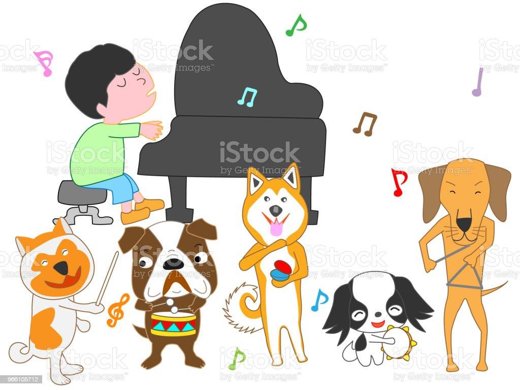 музыка собака - Векторная графика Барабан роялти-фри