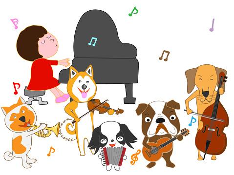 Muziek Hond Stockvectorkunst en meer beelden van Blaasinstrument