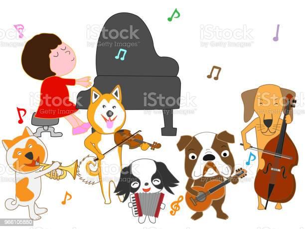 Music Dog — стоковая векторная графика и другие изображения на тему Барабан