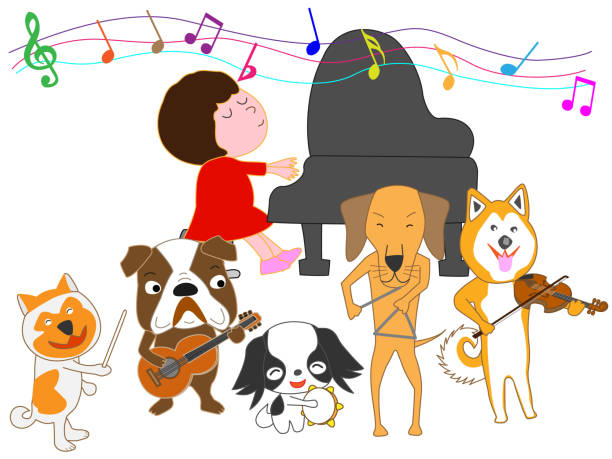 Royalty Free Dog Playing Piano Clip Art, Vector Images ...