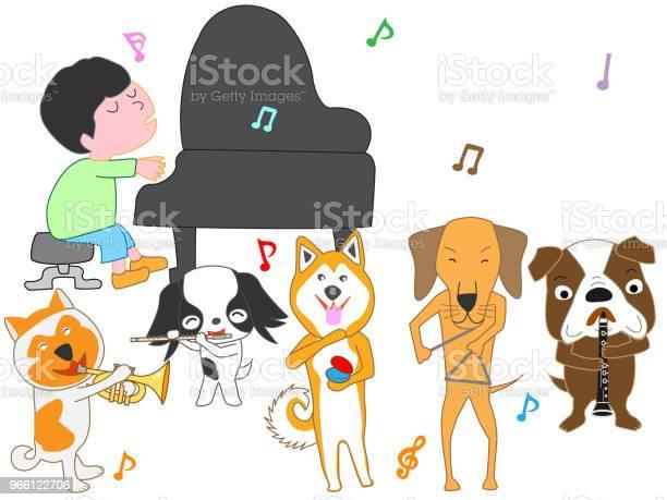 Музыка Собака — стоковая векторная графика и другие изображения на тему Барабан