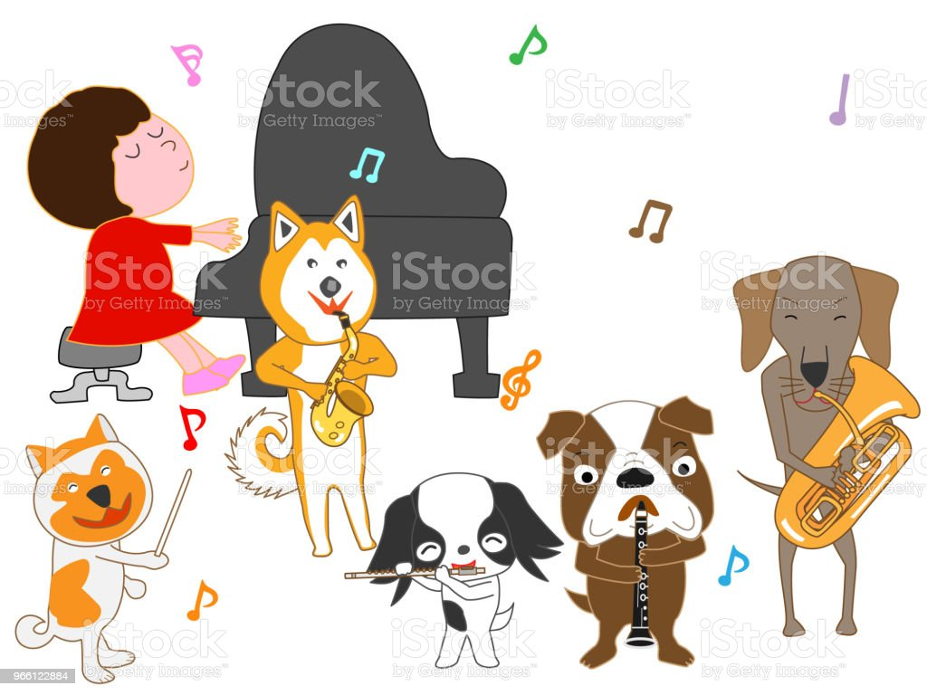 muziek hond - Royalty-free Blaasinstrument vectorkunst