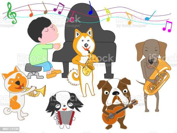 Музыкальная Собака — стоковая векторная графика и другие изображения на тему Барабан