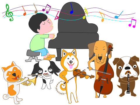 Ilustración de Música De Perro y más Vectores Libres de Derechos de Animal