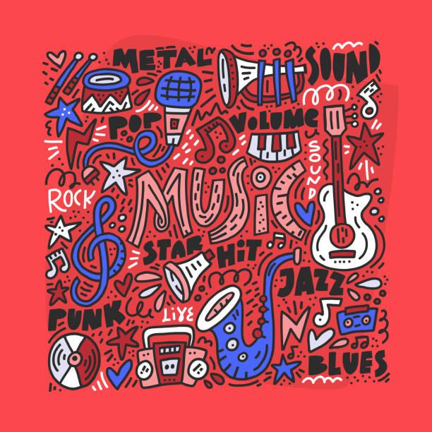 ilustrações de stock, clip art, desenhos animados e ícones de music doodle illustration - músico popular