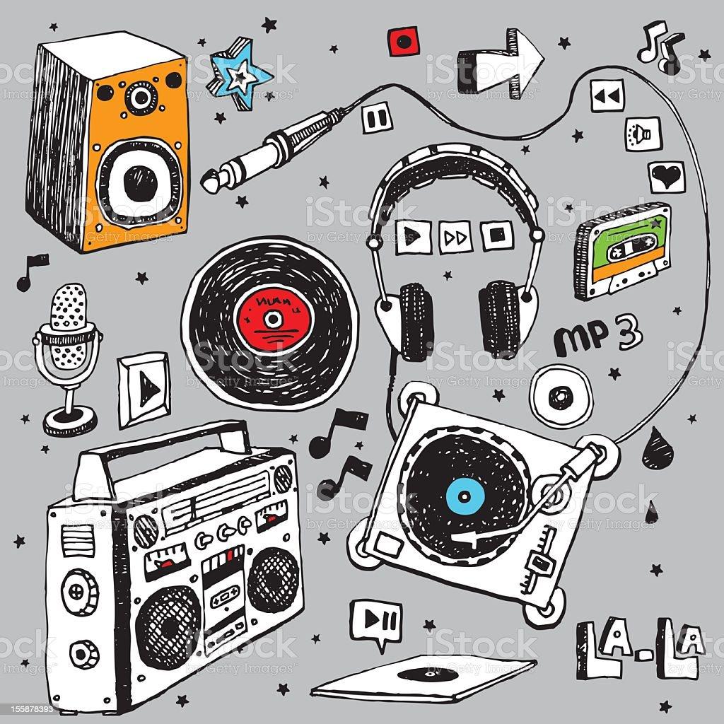 Music doodle set vector art illustration