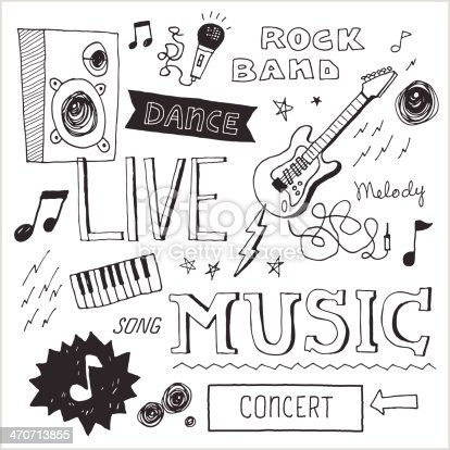 Music-themed text and graphics in hand-drawn doodle style. Easy-to-edit vector elements.
