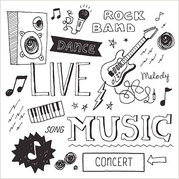ilustrações, clipart, desenhos animados e ícones de música rabiscos 2, elementos vetorizados - música rock