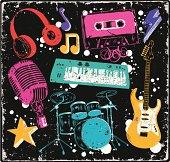 Music doodles under grunge texture,