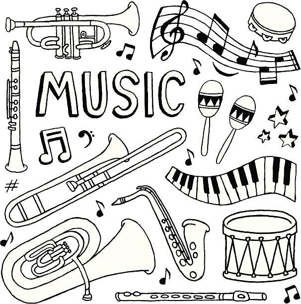 doodles muzyki - klarnet stock illustrations