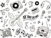 A collection of music-themed doodles.