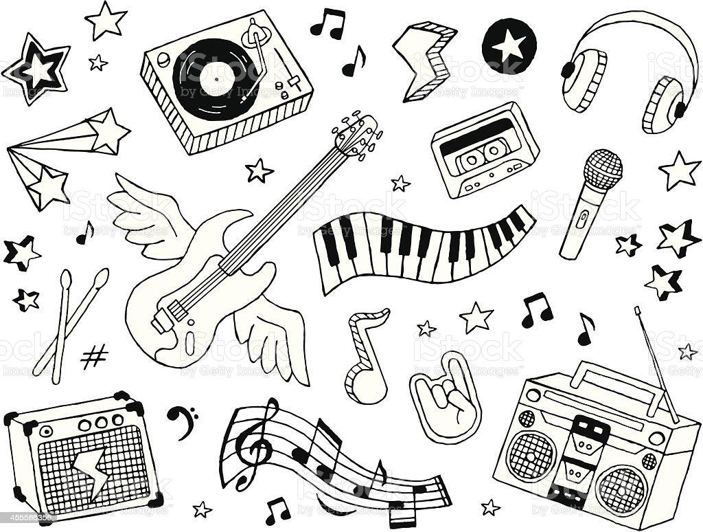 Musique et crayonnages - Illustration vectorielle