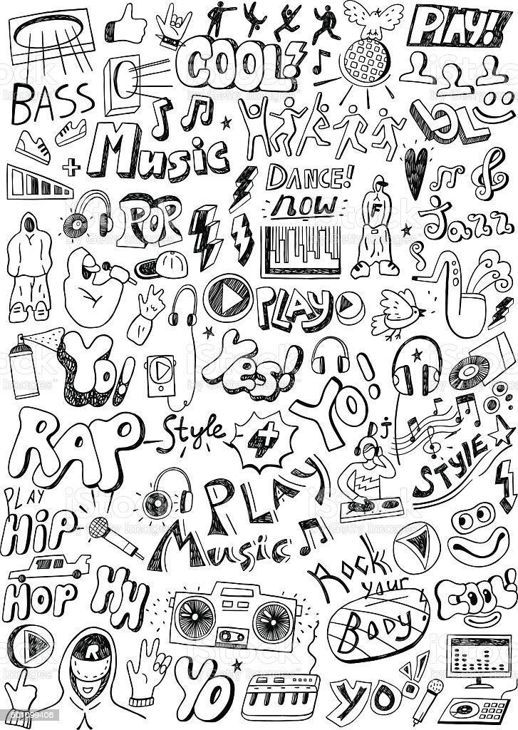 music doodles vector art illustration