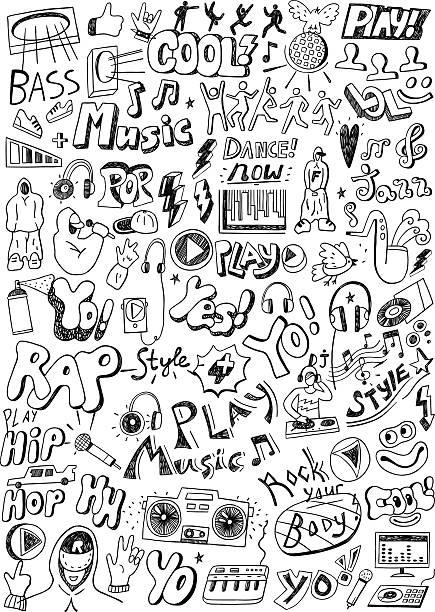 illustrations, cliparts, dessins animés et icônes de musique et crayonnages - hip hop