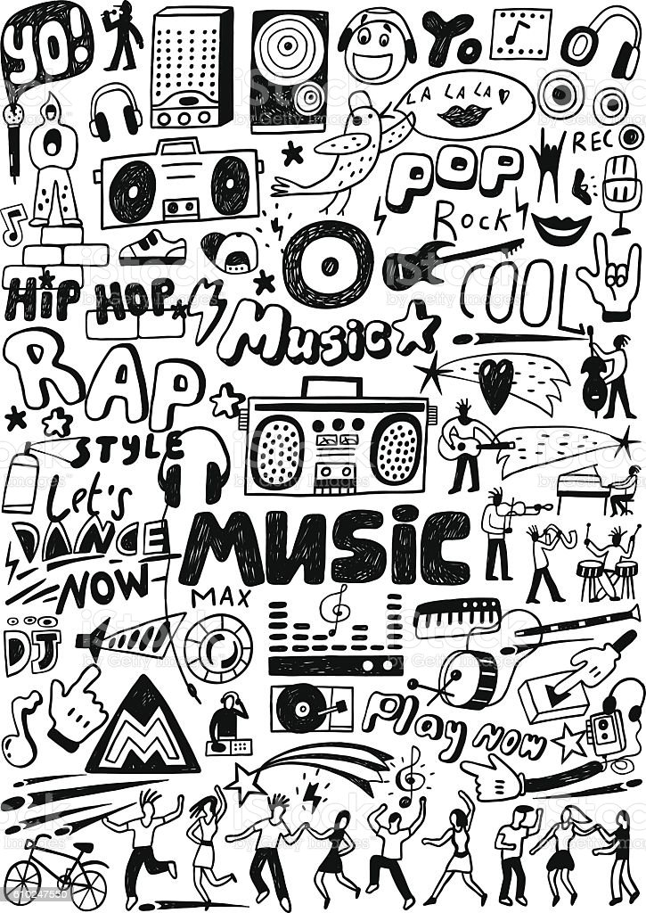 doodles music doodle cartoon drawings vector radio cool illustration shutterstock easy illustrations entertainment tattoo background cute craft arts rock drawing