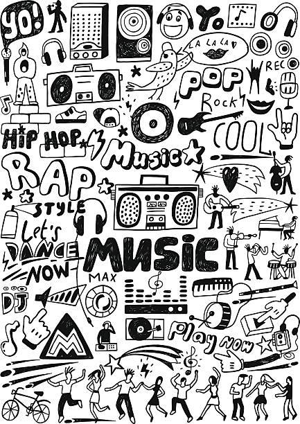 stockillustraties, clipart, cartoons en iconen met music doodles - teenager animal