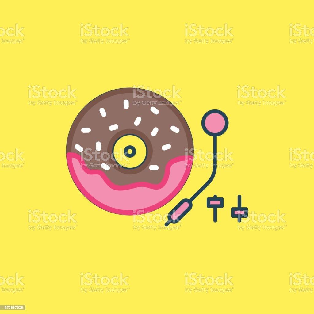 Music Doughnut vector art illustration