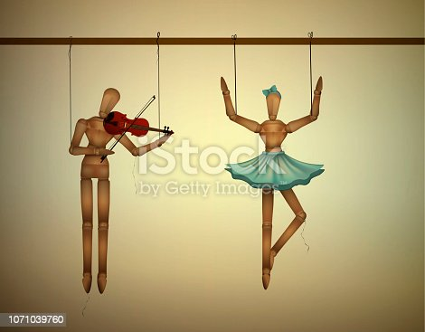 music duet concept, merionettes couple one dancing and one playing violine, vector