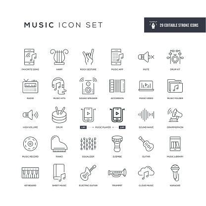 Music Editable Stroke Line Icons