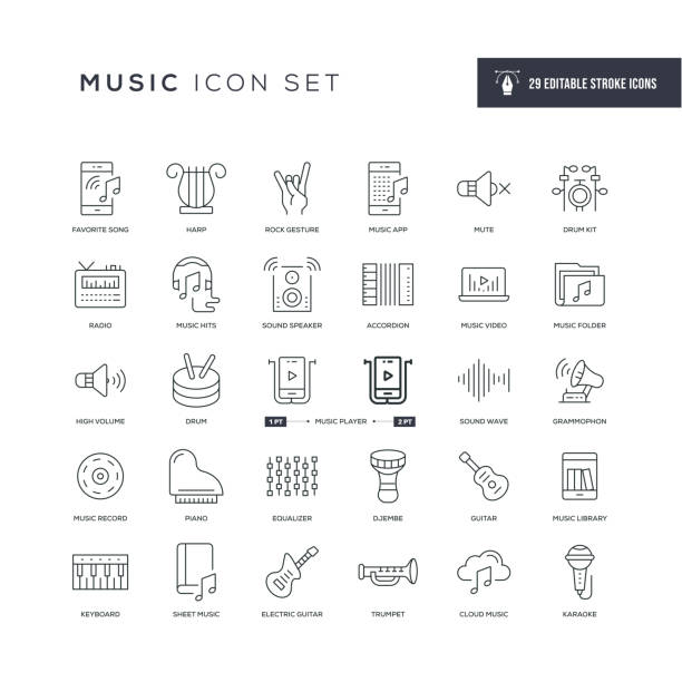 Music Editable Stroke Line Icons 29 Music Icons - Editable Stroke - Easy to edit and customize - You can easily customize the stroke with music icons stock illustrations