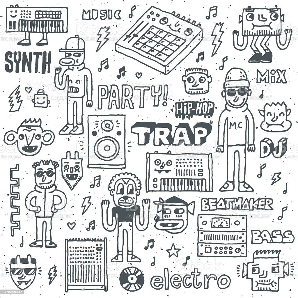 Music Electronic Style Funny Wacky Doodle Set 1. vector art illustration