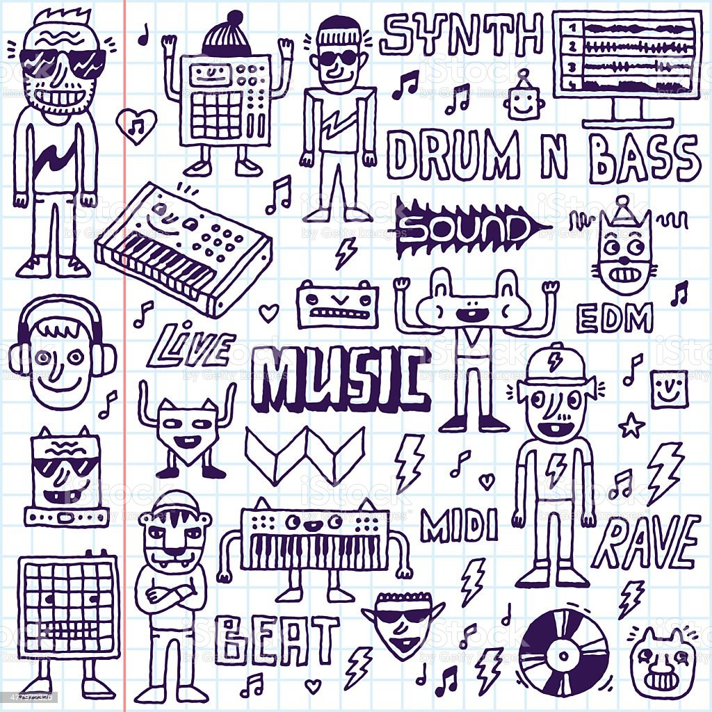 Music Electronic Style Funny Wacky Doodle Set 2. vector art illustration