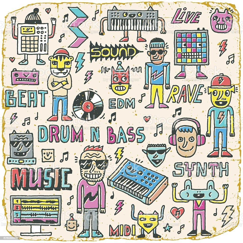 Music Electronic Style Funny Wacky Doodle Set. vector art illustration