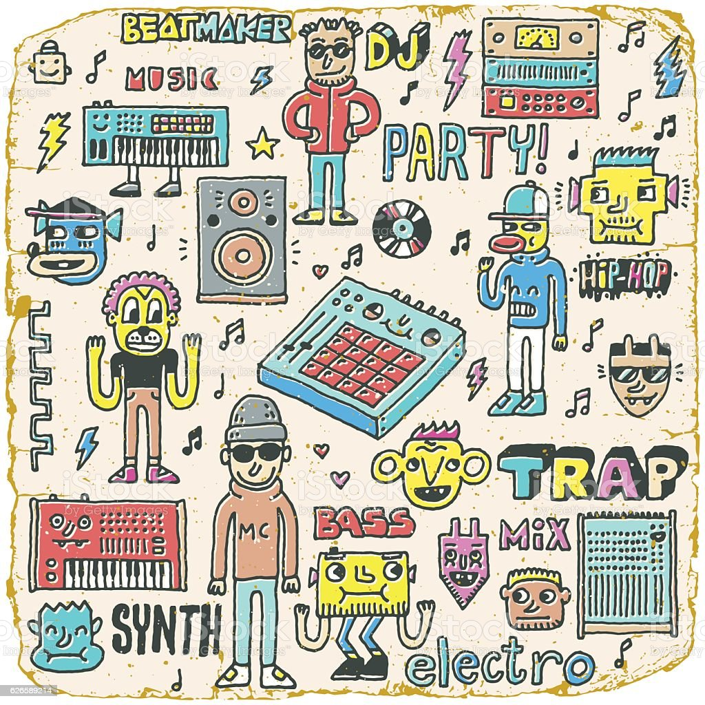 Music Electronic Style Funny Wacky Doodle Set. vector art illustration