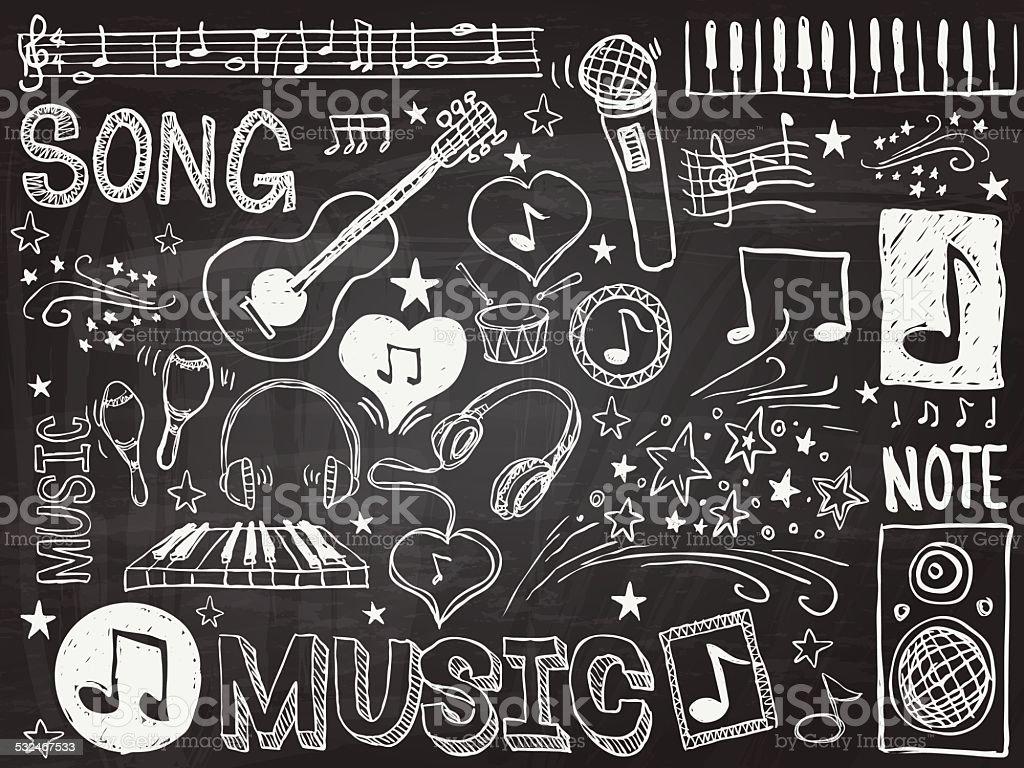 Music elements sketch vector art illustration