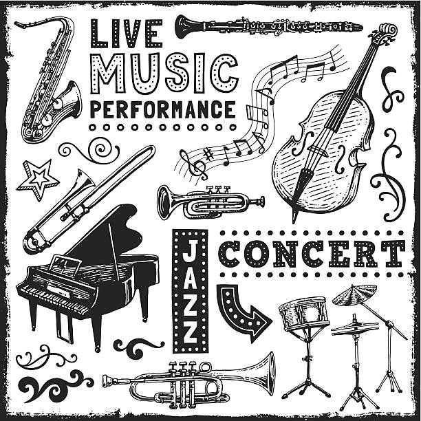 stockillustraties, clipart, cartoons en iconen met music elements - trompet
