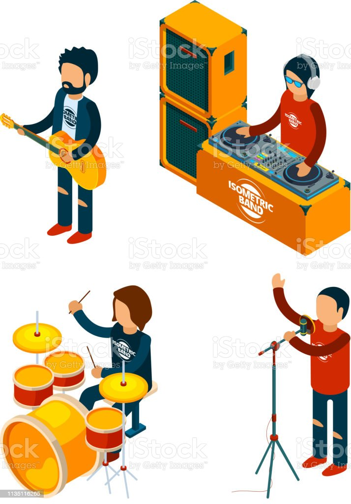 Music Entertainment Isometric Singer Rock Musician Crowd Drummer
