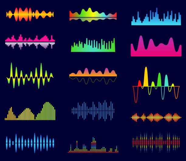 stockillustraties, clipart, cartoons en iconen met muziek equalizer audio analoge golven, studio sound frequentie, muziek speler golfvorm, gezonde spectrum signaal, sonic tracks vector set - analoog