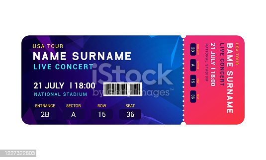 istock Music event concert ticket template. Ticket party design flyer pass ticket. 1227322603